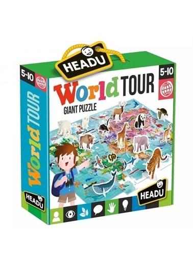 Headu Headu 108 Parça Dünya Turu Kıtaları Öğrenelim Çocuk Eğitici Puzzle Renkli